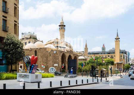 Mansour Assaf et Al Omari mosquées du centre-ville de Beyrouth, Liban Banque D'Images