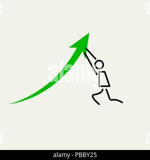 Homme poussant vers le haut. Le petit graphique homme pousse la flèche vers le haut. Éléments de conception vectorielle définie pour la conception Banque D'Images