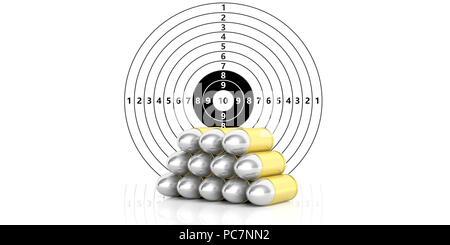 Pile de balles sur du papier blanc avec chiffres plaque cible de tir. 3d illustration Banque D'Images