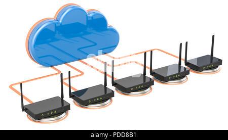 Connection réseau concept. Nuage de l'ordinateur à l'aide de routeurs, rendu 3D isolé sur fond blanc Banque D'Images