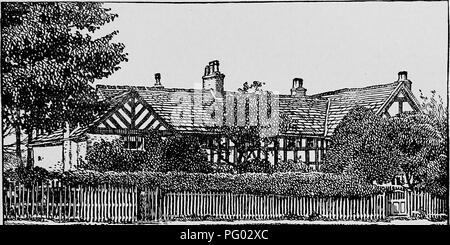 . L'histoire de Victoria du comté de Lancaster;. L'histoire naturelle. Kempnough 100 Eccles Old Trafford Hall est un petit noir et blanc tim- bared s'appuyant sur une base de pierre, une grande partie renouvelé avec briques apparentes, et dit avoir été presque entièrement re- construit à une époque relativement récente. Une grande partie de l'ancien travail du bois a été conservée, bien que la plus grande partie de l '' bois/est-ce que la peinture sur plâtre. La maison est un bâtiment de deux étages avec un toit à pignons légèrement en saillie à chaque extrémité de l'aile, et est maintenant divisée en trois gîtes. Il se trouve, entouré d'arbres, environ un demi-mille au nord-est de Sherbrooke, près de Banque D'Images