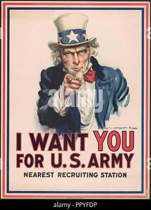 Je veux que vous pour l'armée américaine la plus proche: gare de recrutement / James Montgomery Flagg. 1917. Bibliothèque du Congrès..war poster avec la célèbre phrase Banque D'Images