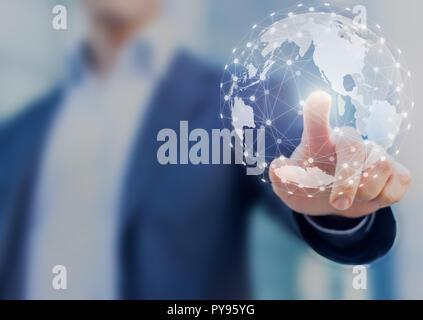 Réseau mondial de la communication avec des contacts internationaux pour les entreprises autour de la carte du monde 3D, financial exchange, Internet des Objets (IoT), blockchain Banque D'Images
