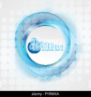 Abstract shiny blue swirl cercles arrière-plan. Conception vectorielle Banque D'Images