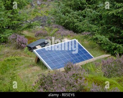Panneau solaire mobile génère de l'électricité hors réseau dans une forêt, UK Banque D'Images