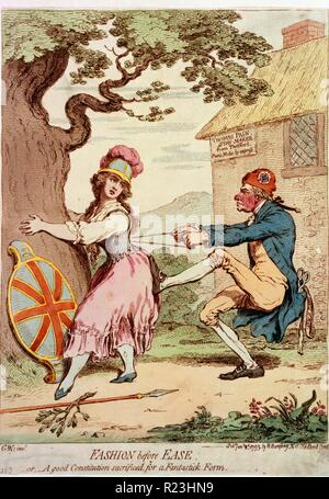 Avant la mode facilité;--ou,--une bonne constitution sacrifiés pour une forme fantastique. Caricature montrant Britannia amplexicaule tronc d'un grand chêne, tandis que Thomas Paine remorqueurs à deux mains à son séjour lacets, son pied sur son postérieur. De sa poche de manteau dépasse d'une paire de ciseaux et d'un ruban inscrit: Droits de l'homme. Derrière lui, c'est une chaumière inscrit: Thomas Douleur, Staymaker de Thetford. Paris Modes, par express. Banque D'Images