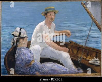 La navigation de plaisance. Artiste: Édouard Manet (français, Paris 1832-1883 Paris). Dimensions: 38 1/4 x 51 1/4 in. (97,2 x 130,2 cm). Date: 1874. Manet a travaillé à Gennevilliers en 1874, souvent passer du temps avec Monet et Renoir traverse la Seine à Argenteuil, où <i>Boating</i> a été peint. Au-delà de l'adoption le contact léger et la palette de ses plus jeunes collègues impressionnistes, Manet exploite les plans larges de couleur et une forte diagonale d'estampes japonaises pour donner forme à cette scène inimitable de loisirs en plein air. Rodolphe Leenhoff, le beau-frère, est pensé pour avoir posé pour le marin mais la Banque D'Images