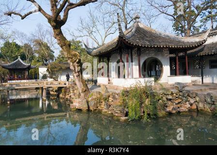 Paysage dans le jardin de l'Humble Administrateur, Suzhou, Province de Jiangsu, Chine Banque D'Images