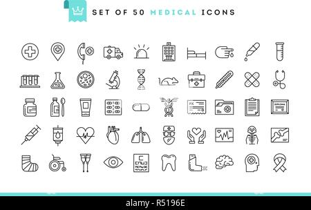 Jeu de 50 icônes médicale, style de ligne mince Banque D'Images