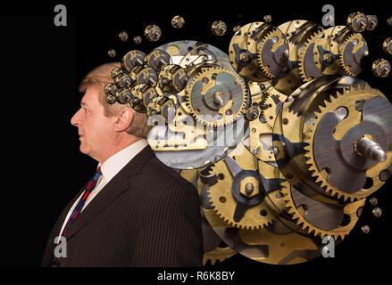 L'homme avec un cerveau avec des parties de la machine Banque D'Images