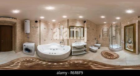 Minsk, Bélarus - mars 1, 2014: 360 degrés entièrement sphériques panorama équirectangulaire transparente en projection équidistante, panorama de l'intérieur de salle de bains Banque D'Images