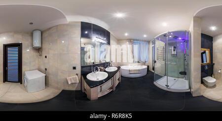 MINSK, BÉLARUS - Mars 20, 2014: Le panorama sphérique 360 degrés en continu équirectangulaire projection équidistante, panorama de l'intérieur de salle de bains Banque D'Images