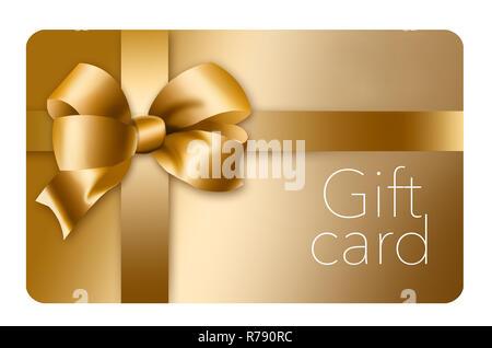 Une carte-cadeau de l'or avec un arc d'or et ruban est photographié ici isolé sur l'arrière-plan. C'est une illustration. Banque D'Images