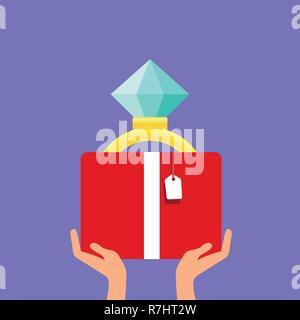 Deux hommes s mains est titulaire d'une boite à bijoux une bague de mariage avec un gros diamant brillant. Faire une demande en mariage. Concept de mariage. Vecteur isolé Banque D'Images