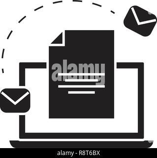 Système d'e-mail marketing vecteur icône noire concept. Système d'e-mail marketing télévision illustration, sign Banque D'Images