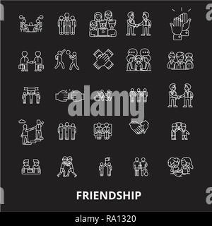 Ligne modifiable amitié icônes vector set sur fond noir. L'amitié contour blanc illustrations, signes, symboles Banque D'Images