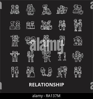 Ligne modifiable relation icônes vector set sur fond noir. Contour blanc relation illustrations, signes, symboles Banque D'Images