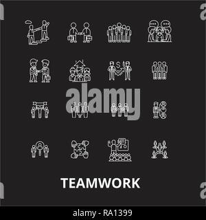 Le travail d'équipe des icônes ligne modifiable vector set sur fond noir. Le travail d'équipe contour blanc illustrations, signes, symboles Banque D'Images