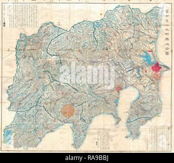 1843, 14 Tienpo période Edo Plan de Mt. Fuji, Tokyo, et environs. Repensé par Gibon. L'art classique avec une touche moderne repensé Banque D'Images