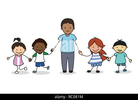 Enfants / enfants avec des adultes de sexe masculin se tenant la main, illustration Banque D'Images