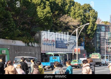Les piétons entassés au croisement à l'extérieur de la Gare de Ueno à Tokyo au Japon. Les piétons circulant et du shopping au quartier de Ueno en vacances. Banque D'Images