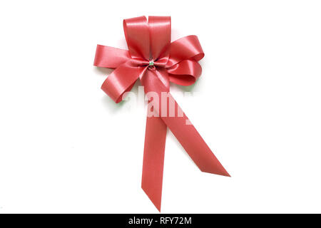 Red Bow comme award ruban sur fond blanc Banque D'Images