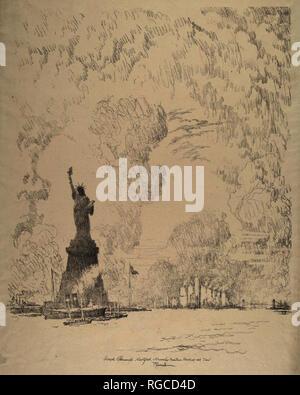 La Statue, New York Bay. En date du: 1910. Technique: lithographie. Musée: National Gallery of Art, Washington DC. Auteur: Joseph Pennell. Banque D'Images