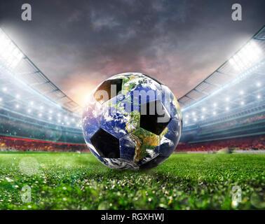 Ballon de soccer a comme monde. La masse fournie par la NASA. Banque D'Images