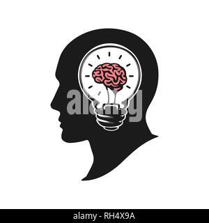 Tête humaine de la création d'une nouvelle idée illustration vectorielle. Tête humaine avec le cerveau. Silhouette tête humaine avec l'ampoule. Logo design icône grande idée Banque D'Images