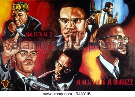 Affiche représentant Malcolm X (1925-1965), un ministre musulman et militant des droits de l'homme. Haut à gauche est vu. Elijah Muhammad, un chef religieux noir, qui a dirigé la Nation of Islam (NOI) à partir de 1934 jusqu'à sa mort en 1975. Il a été un mentor pour Malcolm X, Banque D'Images