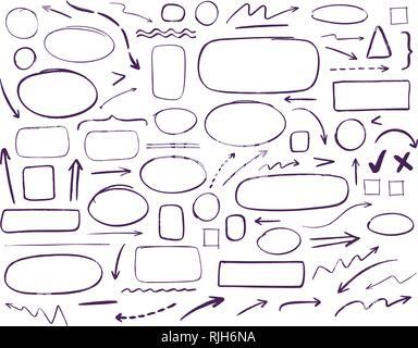 Graphiques dessinées à la main. L'entreprise, de l'éducation ensemble d'éléments. Doodle vector illustration Banque D'Images