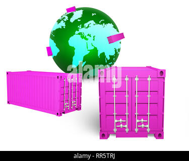 Les conteneurs de fret et green globe isolated on white, 3D illustration. La logistique, l'expédition et de transport global concept d'affaires. Banque D'Images