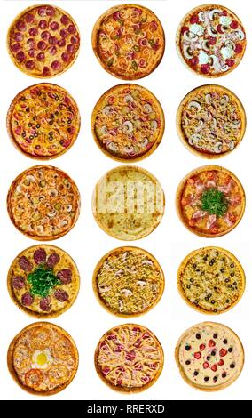 Une série de quinze différents pour le menu, pizza au fromage, au jambon, au salami, avec champignons, tomates avec holopina avec sur fond isolé Banque D'Images