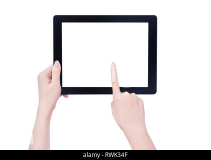 Young beautiful girl holding a tablet pc noir modèle avec écran blanc isolé sur fond blanc, Close up, maquette, chemin de détourage, cut out Banque D'Images