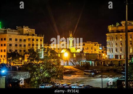 La Mosquée Al Omari Beyrouth Vue arrière avec minarets dans la nuit Banque D'Images