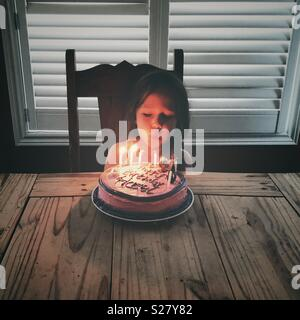 Girl blowing out candles on cake Banque D'Images