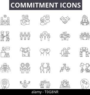 La ligne d'engagement et d'icônes pour le web et les terminaux mobiles. Signes d'avc modifiable. Résumé du concept d'engagement illustrations Banque D'Images