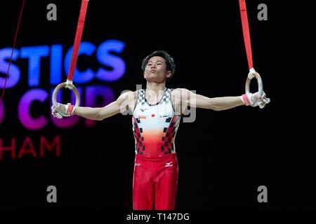 Birmingham, UK. 23 mars 2019. Kazuma Kaya (JPN), d'effectuer au cours de la Men's session de la Coupe du Monde de Gymnastique 2019 à l'Arène de Genting/Resorts World Arena, Birmingham, UK le samedi 23 mars 2019. Banque D'Images