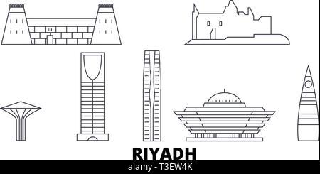 L'Arabie saoudite, Riyad skyline voyages en ligne. L'Arabie saoudite, Riyad contours city vector illustration, symbole de voyage, sites touristiques, monuments. Banque D'Images
