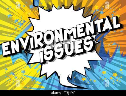 Questions environnementales - Vector illustration comic book style phrase sur fond abstrait. Banque D'Images