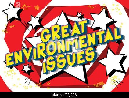 Beaucoup de questions environnementales - Vector illustration comic book style phrase sur fond abstrait. Banque D'Images
