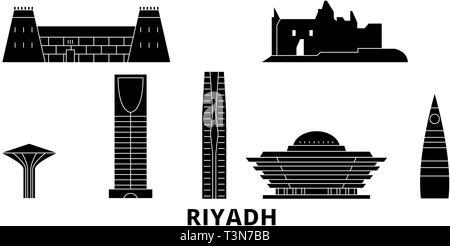 L'Arabie saoudite, Riyad télévision billet skyline set. L'Arabie saoudite, Riyad ville noire, symbole d'illustration vectorielle, les sites touristiques, sites naturels. Banque D'Images