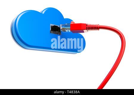 Nuage de l'ordinateur avec câble LAN, 3D Rendering isolé sur fond blanc Banque D'Images