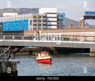 Pied Lagan et pont de Cycle, Belfast avec Titanic bateau Tours, Mona Banque D'Images