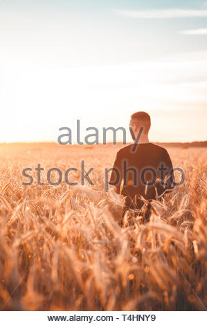 Man Walking through field Banque D'Images