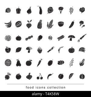 Fruits et légumes icon set. vector illustration. Banque D'Images