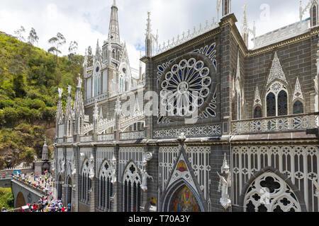 Sanctuaire de Las Lajas détails de la façade Ipiales Colombie Banque D'Images