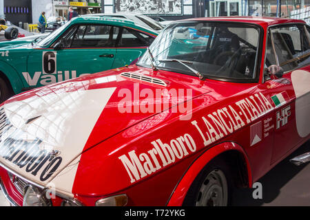 1969-1970 Lancia Fulvia Sport 1000 Barchetta voiture rallye à l'Autoworld, musée de l'automobile classique à Bruxelles, Belgique Banque D'Images