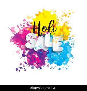 Printemps Holi festival des couleurs de l'élément de conception et de signer la vente holi. Banque D'Images