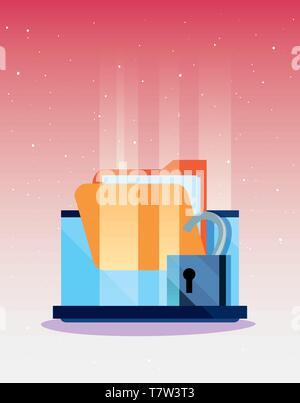 Ordinateur portable cadenas ouvert le dossier de la protection des données d'attaque de la cybersécurité vector illustration Banque D'Images